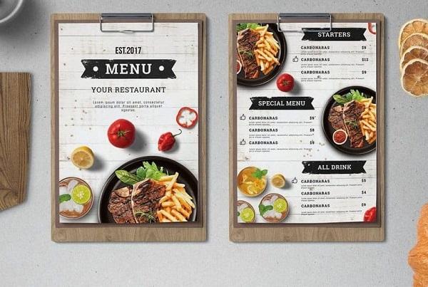 Nhà hàng thường sử dụng kích thước khổ giấy A3, A4 để thiết kế menu
