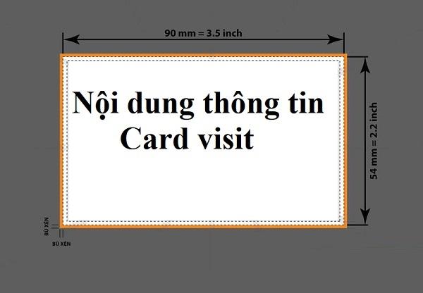 Kích cỡ Name Card chuẩn là 9cm x 5.4cm