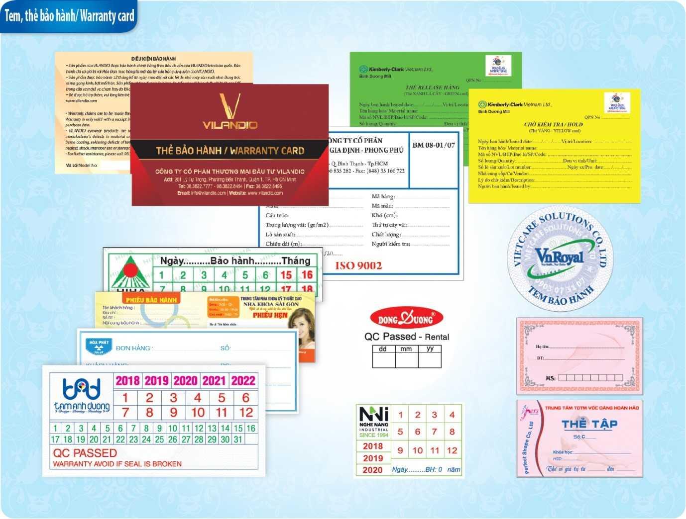Các loại in thẻ bảo hành, phiếu bảo hành