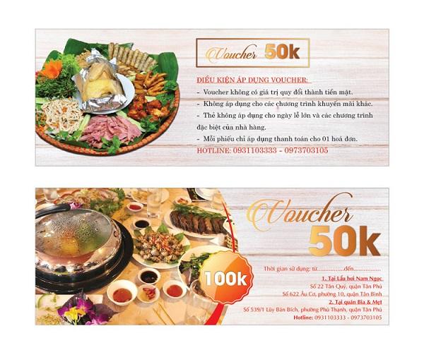 Voucher giảm giá món ăn có đầy đủ thông tin, hình ảnh